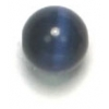 "Cat Eye Beads 6mm Round Navy Strung 16"" Fibre Optic"